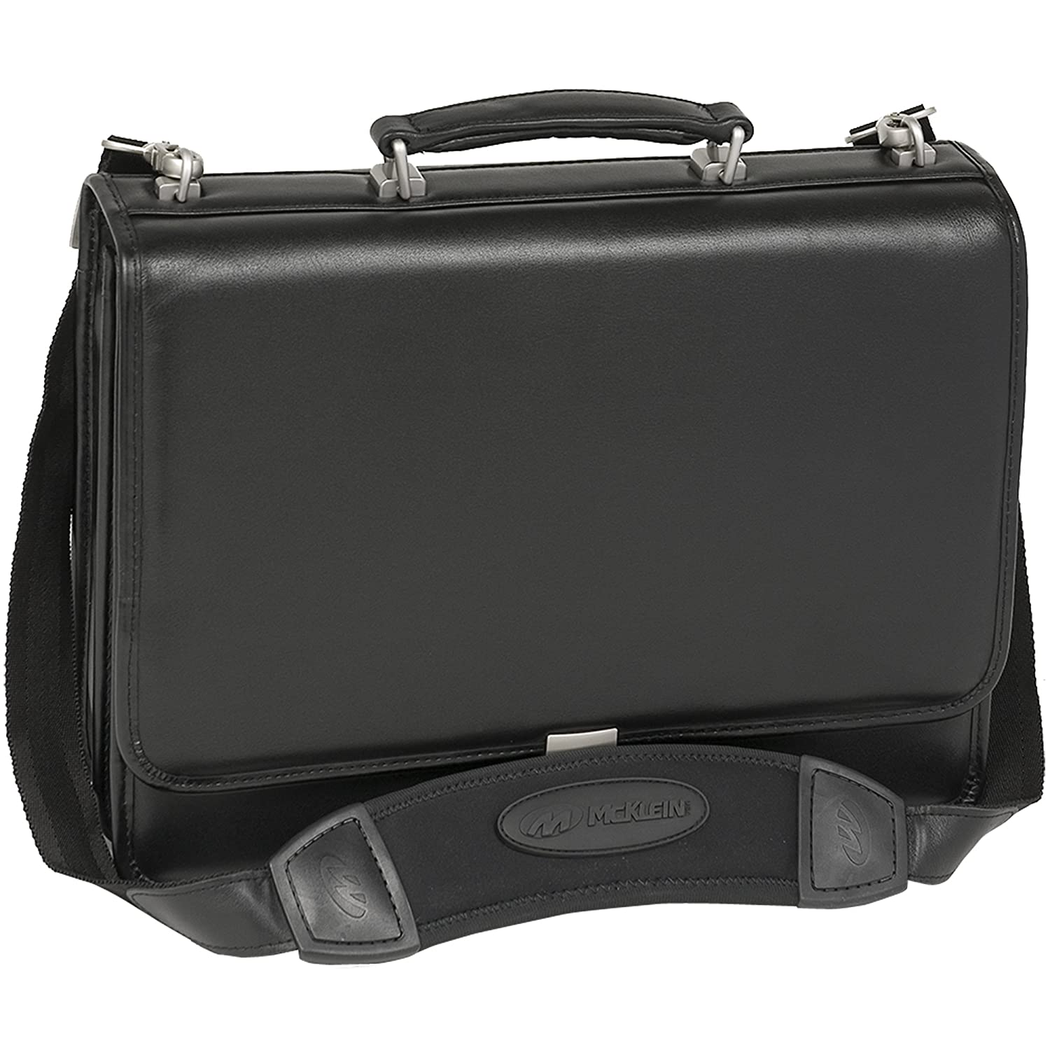 McKlein USA River North Leather 15 Laptop Case I Series Full Grain Cashmere Napa Leather 15 Leather Triple Compartment Laptop Briefcase Black 43555 120084-1995637