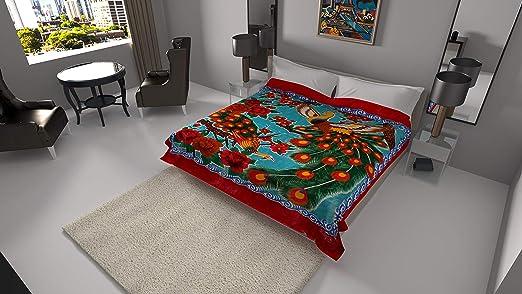 Solaron blanket original Korean licensed throw thick plush king size Peacock new