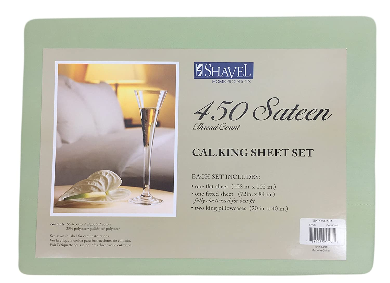 Shavel 450 Thread Count Sateen Sheet Set Sage Green California King