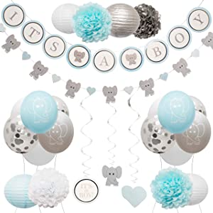 Elephant Baby Shower Decorations for Boy by Baby Nest Designs – Blue Baby Shower Backdrop with Balloons, Its a Boy Banner, Paper Hanging Decorations and More Party Decor/Gender Reveal Decorations