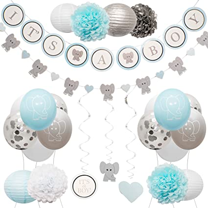 Amazon Com Elephant Baby Shower Decorations For Boy By Baby Nest Designs Blue Baby Shower Backdrop With Balloons Its A Boy Banner Paper Hanging Decorations And More Party Decor Gender Reveal Decorations Health
