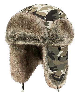 fdf853e707b ililily Howels Camouflauge Faux Fur Lining Cotton Aviator Trapper Trooper  Hat