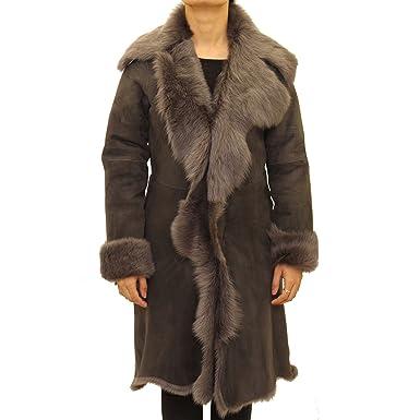 A to Z Leather Suede Gris de Las Mujeres Gris con Color de Piel de Oveja