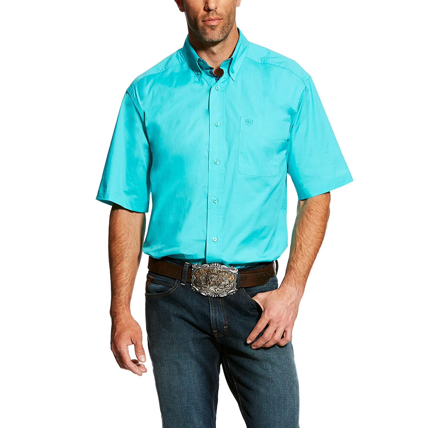 Drift Turquoise XXL ARIAT Solid SS Chemise en Popeline Stretch pour Homme