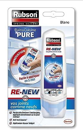Rubson RE NEW, Mastic Sanitaire Blanc à Base De Silicone, Su0027applique