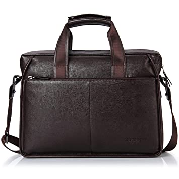 8e9433905522b BISON DENIM Herren Klassische Leder Aktenkoffer Laptop Schulter Messenger  Bag Business Tote