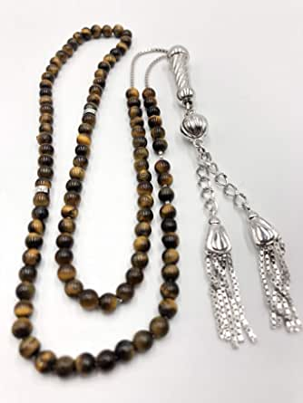 Tiger eye Stones Rosary with chain & tussle Rohduim plated silver color 99 beads 4 mm