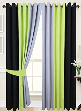 Green Curtains amazon green curtains : PAIR OF 3 TONE FULLY LINED RING TOP EYELET CURTAINS IN LIME GREEN ...