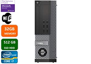 Dell Optiplex 7020 Desktop Computer, Intel Quad-Core i7-4770-3.4GHz, 32 GB RAM, 512GB SSD HDD, DVD, USB 3.0, WiFi, HDMI, Windows 10 Pro (Renewed)