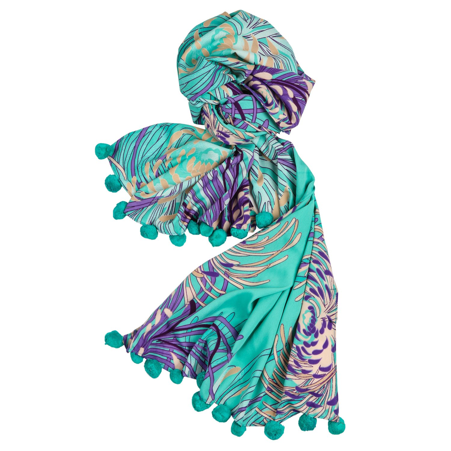 Cafsew Colours Womens Stole CG-122-ST-L,Green,Poly Crepe