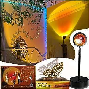 Sunset LAMP Sunset Light Decor - Teen Room Decor Aesthetic Home Bedroom Wall Decor Led Light Sunset Red Halo Sunset Projection Lamp & 12 Golden Butterfly Stickers Golden Hour Lamp Gift for Teen Girls