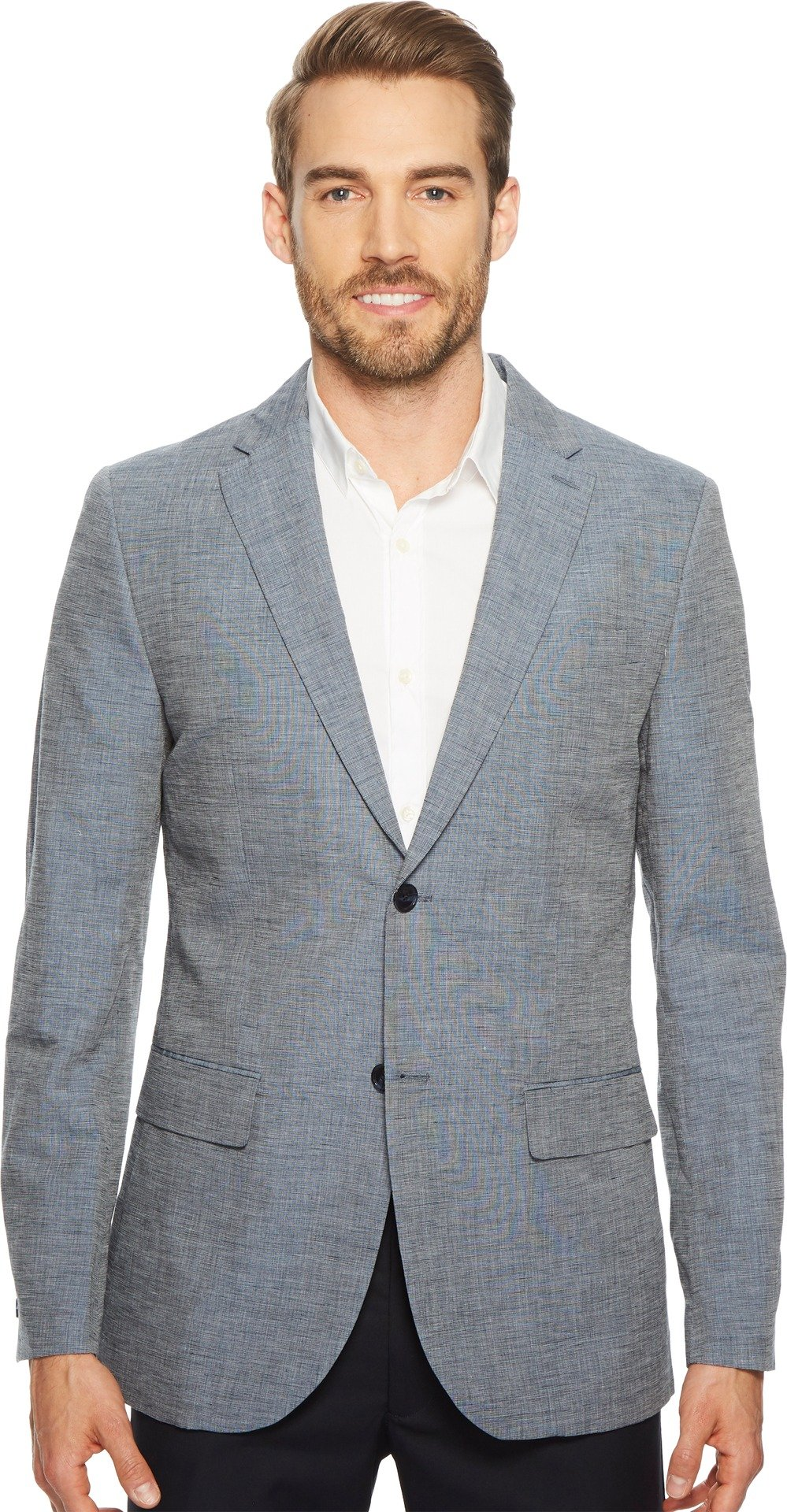 Perry Ellis Mens Slim Fit End-On-End Linen Suit Jacket Bijou Blue 2XL (46 Regular) One Size by Perry Ellis
