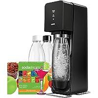 Sodastream Sourcemega Machine à Sodas + 2 Bouteilles Pet 1 L + 1 Offre Découverte 12 saveurs Noir