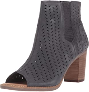 5c904319190 TOMS Women s Majorca Peep Toe Mid Calf Boot Forged Iron Grey Suede  Perforated Leaf 10 Medium