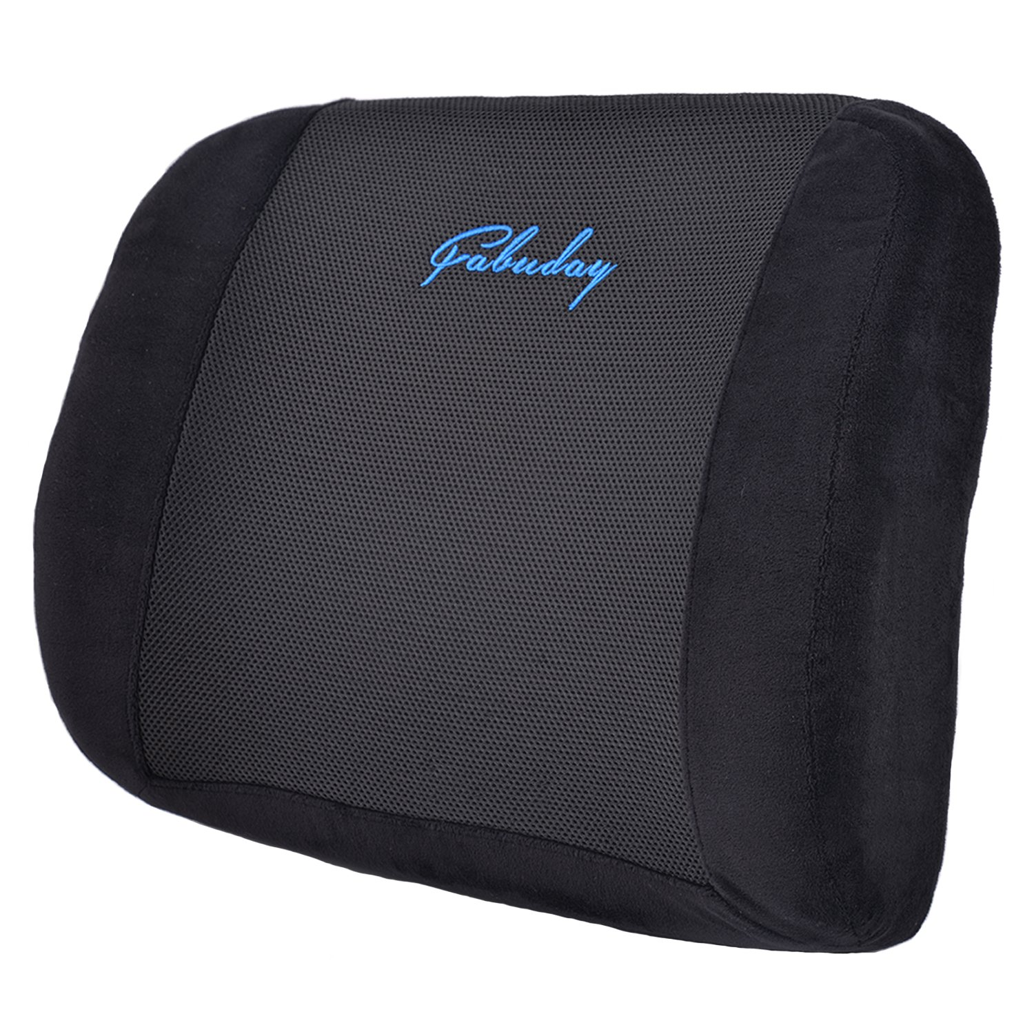 Pure Memory Foam Lumbar Support Pillow Back Cushion Ergonomic Design for Back Pain Relief and Posture Improvement with Washable 3D Mesh Cover and Adjustable Strap Fabuday
