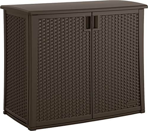 Suncast Elements Outdoor Wide Cabinet – 40 Wide Resin Constructed Patio Furniture Ideal for Decks and Balconies – Contemporary Wicker Design for Outdoor Storage with 97 Gallon Capacity – Brown