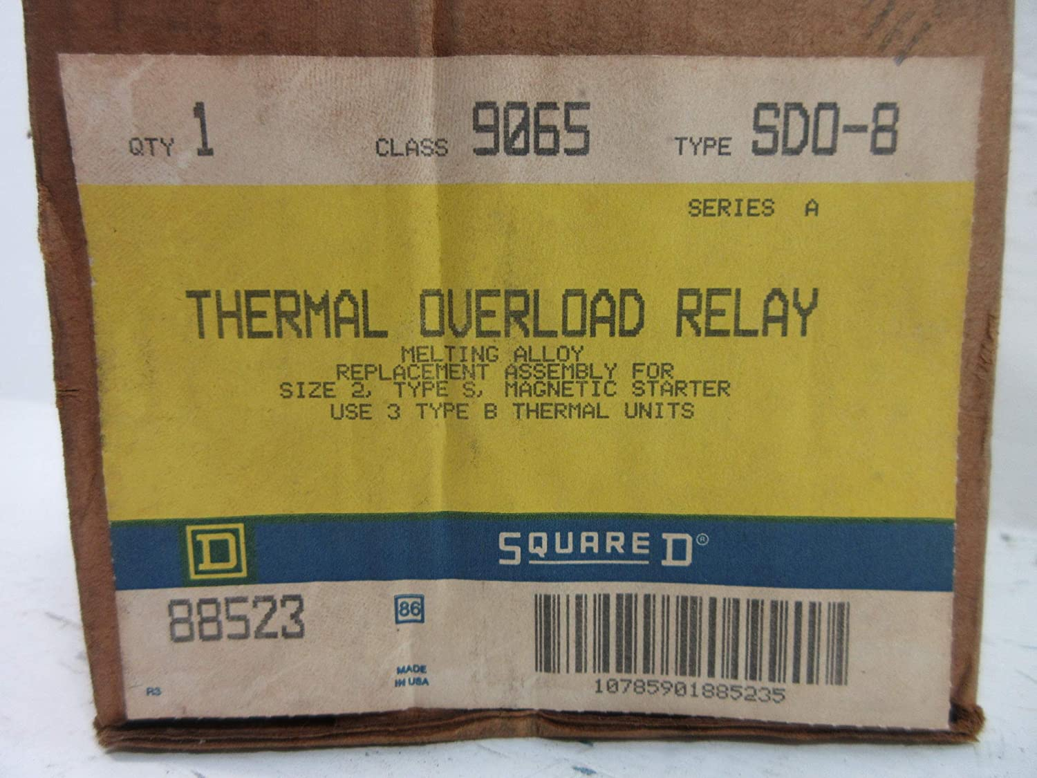 A Melting Alloy SD0-8 NIB New Square D 9065-SDO-8 Thermal Overload Relay Ser
