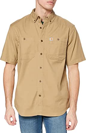 CARHARTT Men's Rugged Flex Rigby Short Sleeve Work Shirt, Navy, Medium