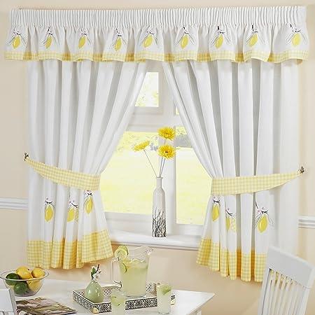 Lemons Pencil Pleat Kitchen Curtains And Tiebacks White Yellow 46 X 48