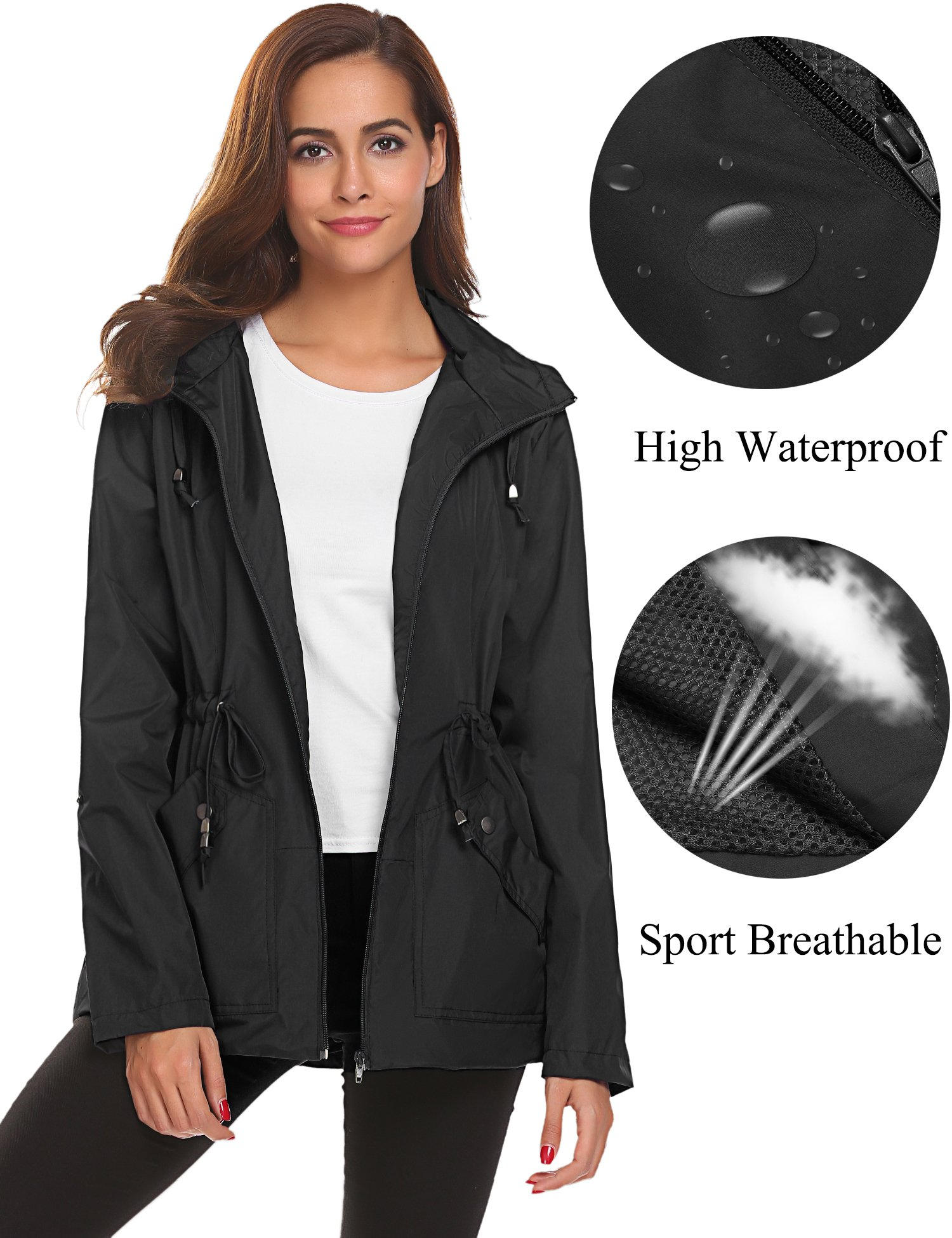 Romanstii Lightweight Jacket for Women Waterproof Raincoat with Hood Windbreaker Lined,Black Lightweight Rain Coat,Large