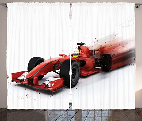 Cars Decor Curtains by Ambesonne, Generic Formula 1 Racing Car Illustration with Special Pace Effect