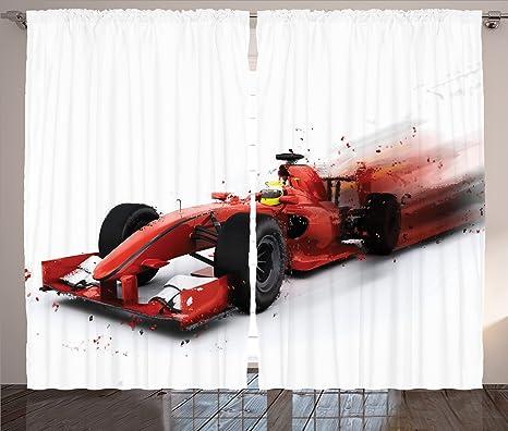 Amazon.com: Ambesonne Cars Decor Curtains, Generic Formula 1 ...