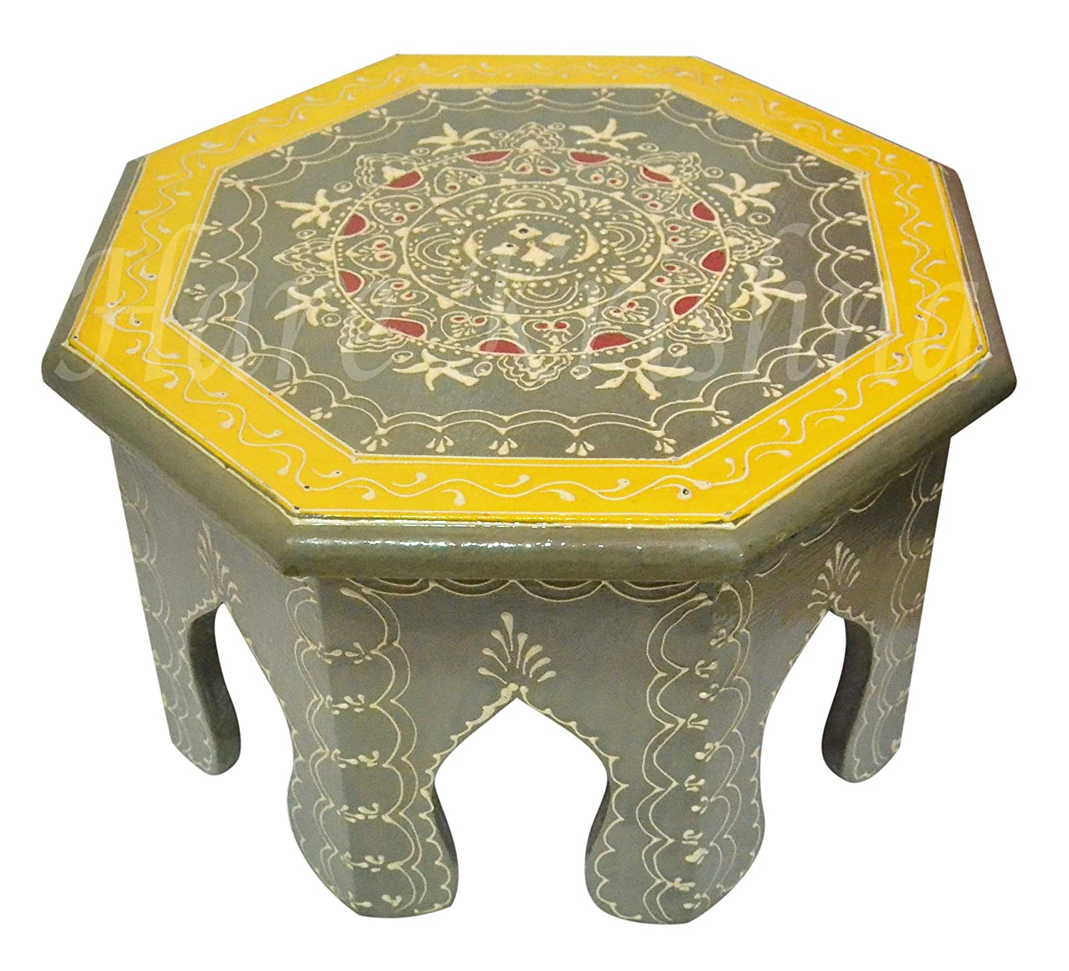 Amazon com indian round hand painted furniture pooja chowki gifts bajot grey 10 x 10 x 6 inches kitchen dining