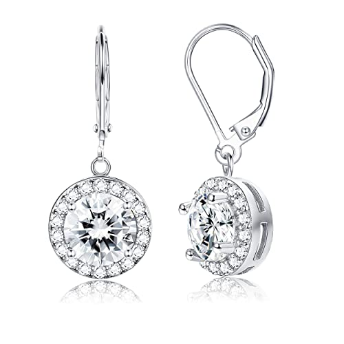 df3122b32 Amazon.com  Sllaiss 925 Sterling Silver Cubic Zirconia Dangle Earrings for  Women Round CZ 4-Prong Setting Drop Halo Earrings  Jewelry