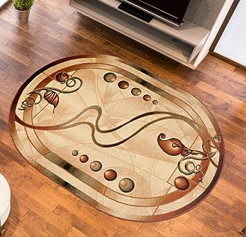 Teppich Wohnzimmer Oval In Creme Kurzflor Muster Natur Blumen Streifen Royal Kollektion Qualitat 60 X 100 Cm