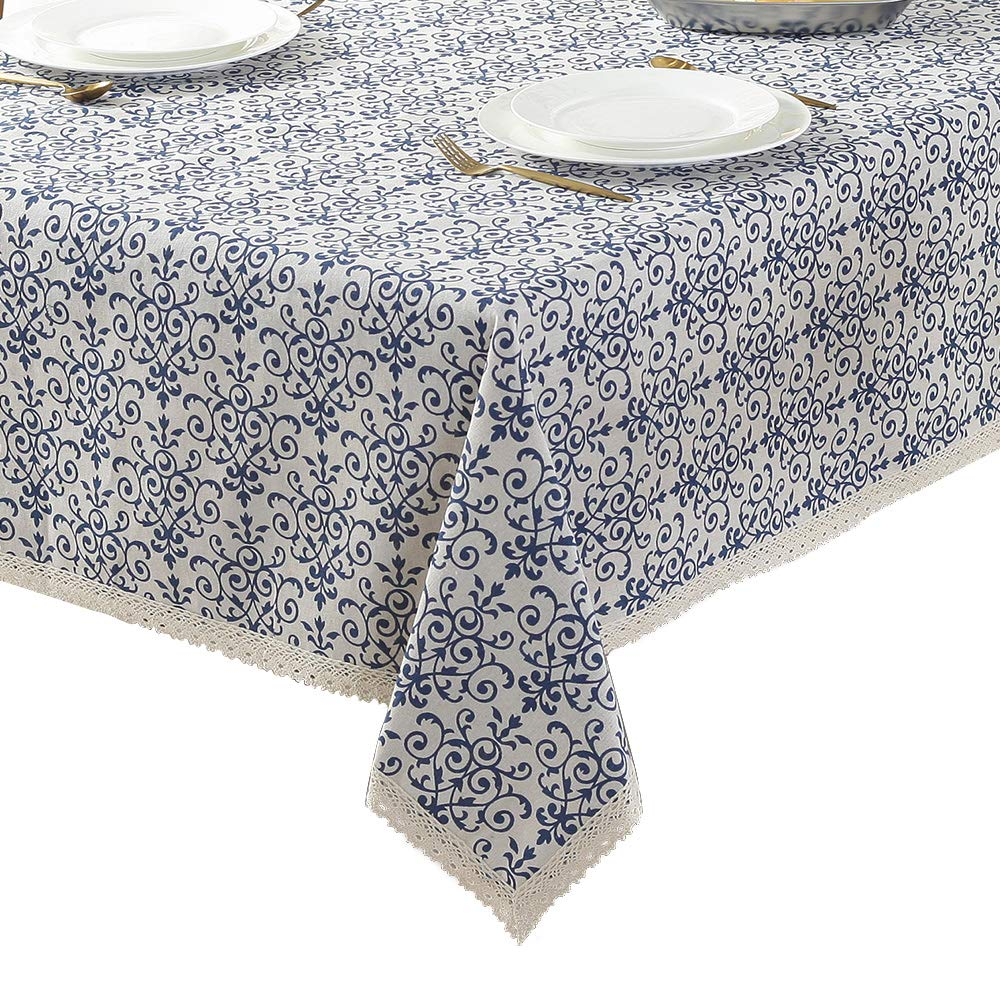 ColorBird Vintage Navy Damask Pattern Decorative Macrame Lace Tablecloth Heavy Weight Cotton Linen Fabric Decorative Table Top Cover (55 Inch x 55 Inch) COMINHKPR133382