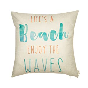 """Fjfz Life's a Beach Enjoy The Waves Funny Motivational Sign Décor Inspirational Quote Summer Decoration Cotton Linen Home Decorative Throw Pillow Case Cushion Cover for Sofa Couch, 18"""" x 18"""""""