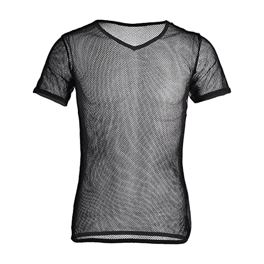 FEESHOW Mens See Through Mesh Fishnet Clubwear Short Sleeve T-Shirt Undershirt Black Medium