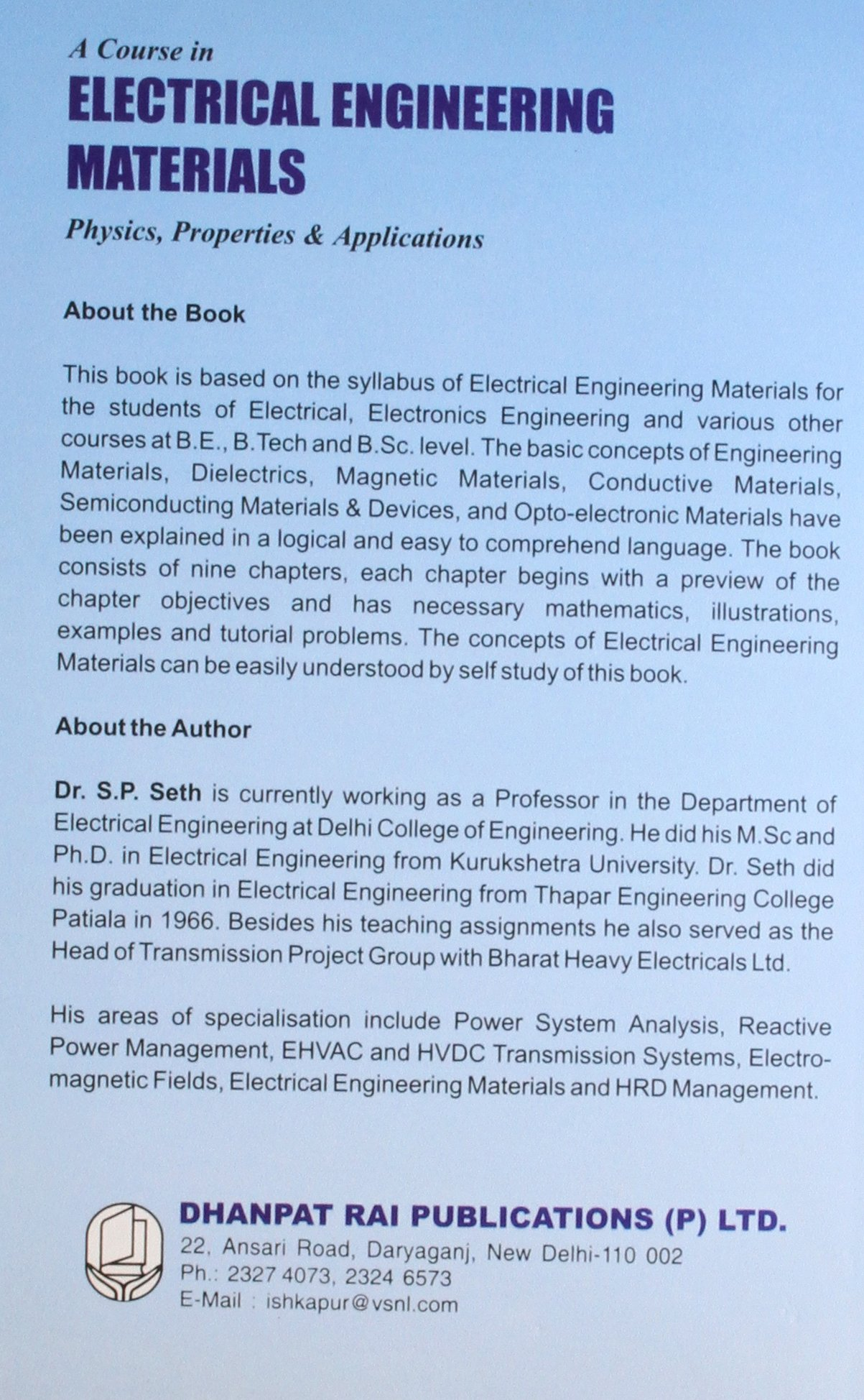 Electrical Engineering Materials Book By Sp Seth