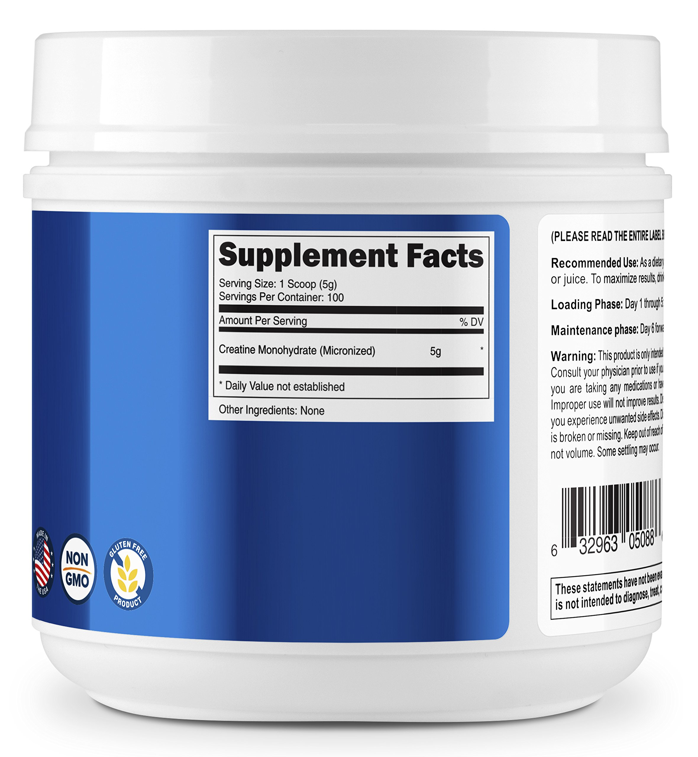 Nutricost Creatine Monohydrate 500g 100 Servings 5000mg Per Serv Rsp 500 Gram Pure Micronized