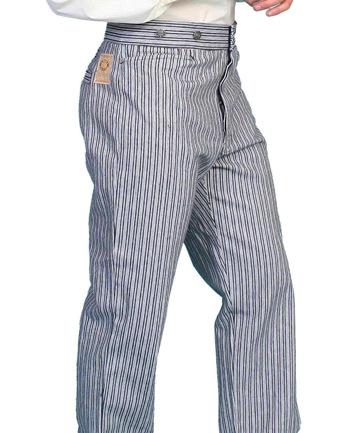 Edwardian Men's Fashion & Clothing Scully Wahmaker Mens Wahmaker Railhead Stripe Pants $99.99 AT vintagedancer.com