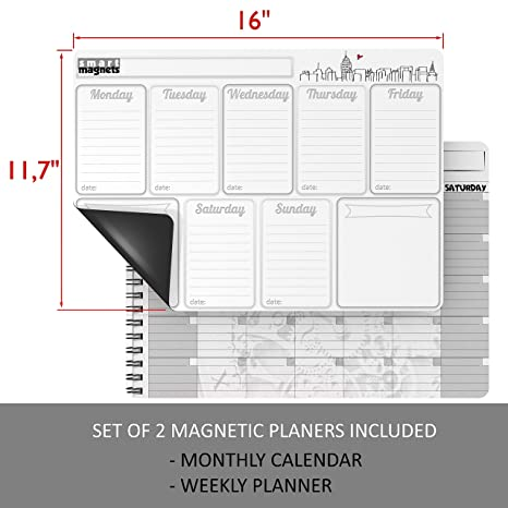 Amazon.com: Calendario magnético para nevera – Semana de ...