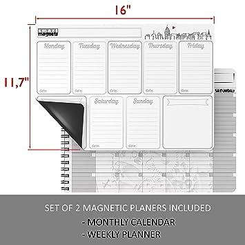 Calendario semanal y mensual magnético de borrado en seco para ...