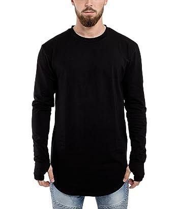 02c79e317e31 Blackskies Round Long Sleeve Basic Men's Longline T-Shirt | Oversized  Curved Hem Sweater L/S Long Tee S M L XL