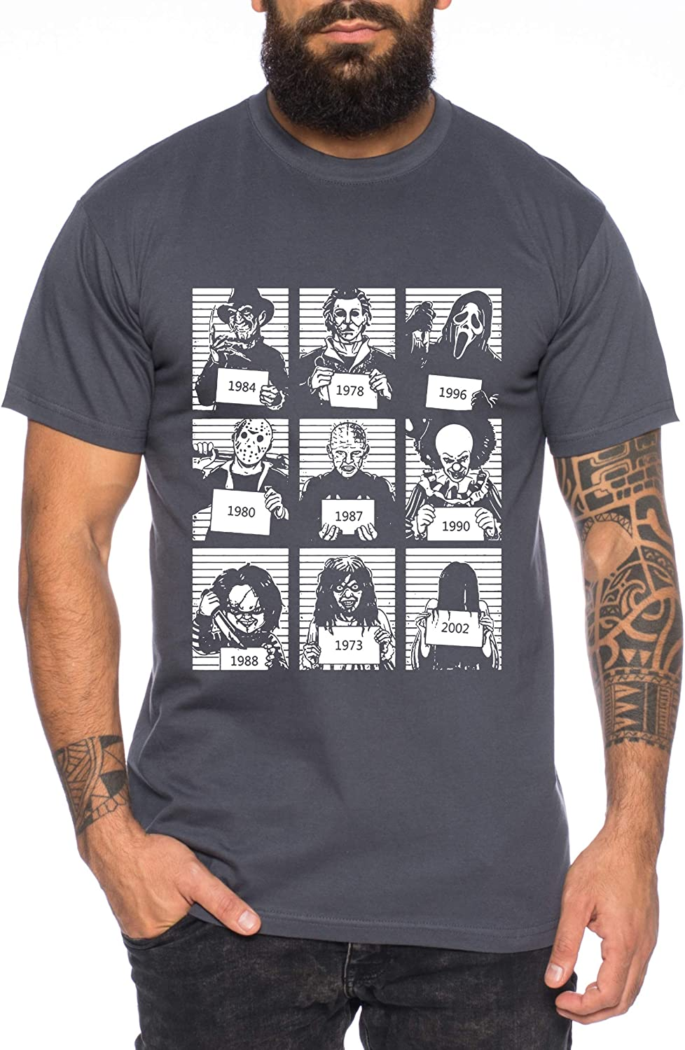 Prison T-Shirt pour Homme Halloween Michael Horror Myers Pennywise Man 13 Jason Voorhees Nightmare