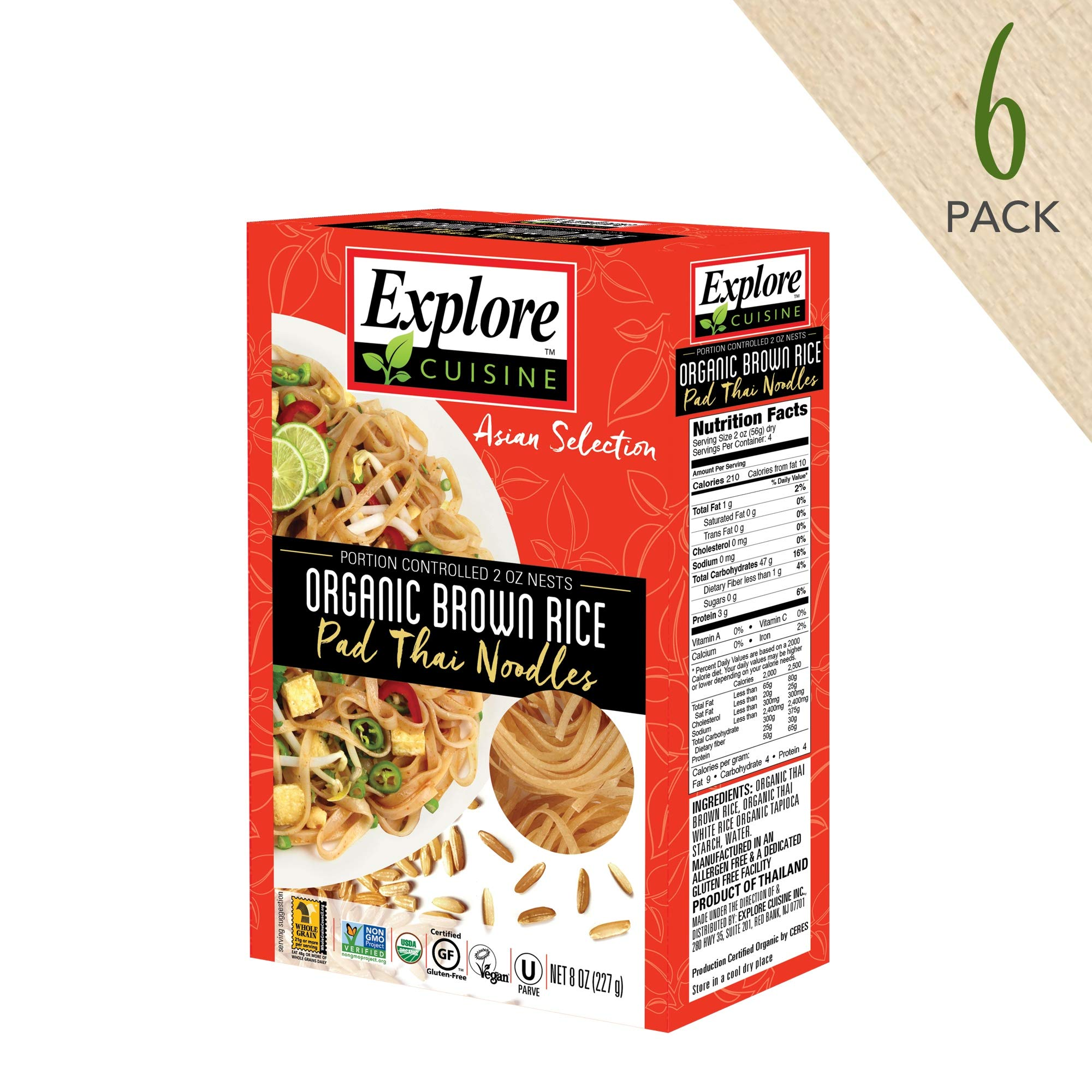 Explore Cuisine Organic Brown Rice Pad Thai Noodles (6 Pack) - 8 oz - Healthy Pasta Alternative, Gluten Free - USDA Certified Organic, Vegan, Kosher, Non GMO - 24 Total Servings
