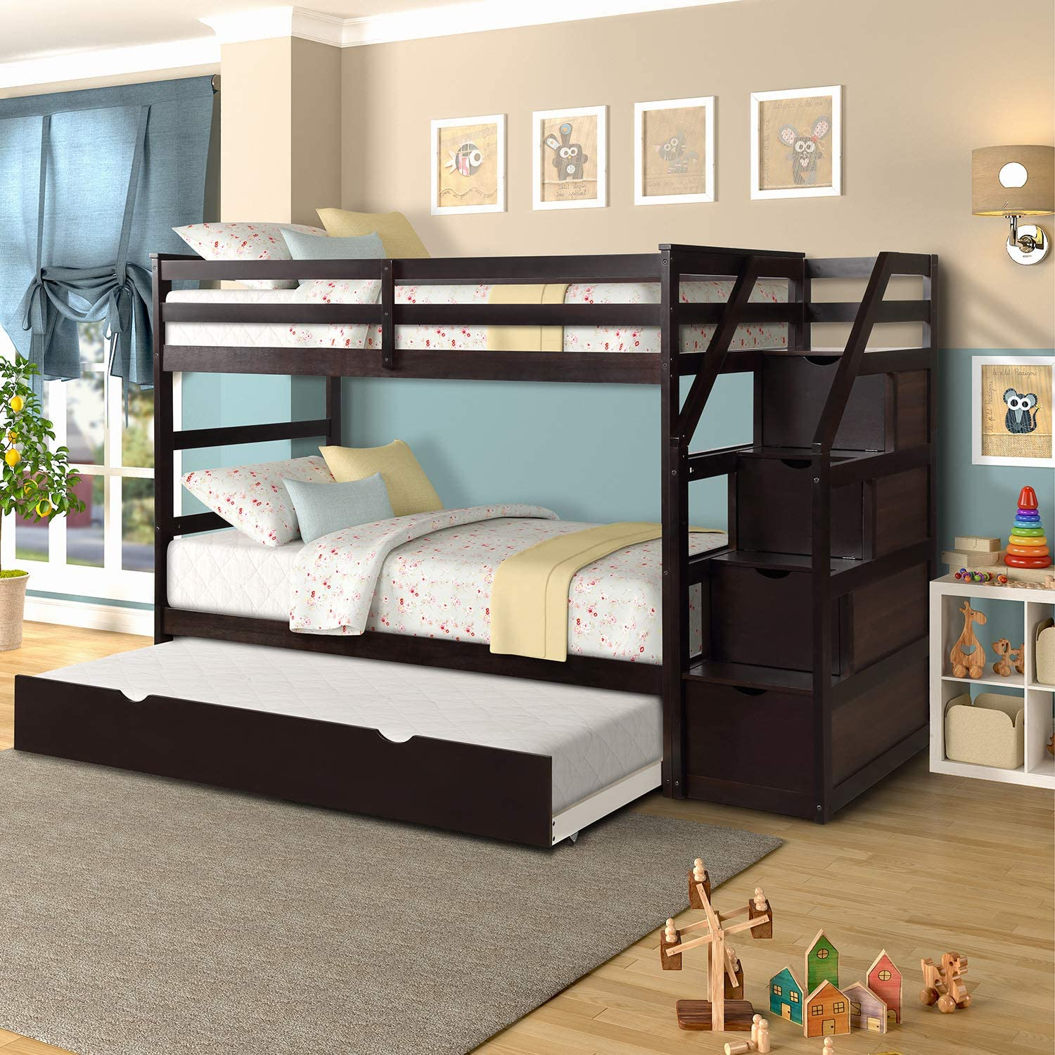 Twin-Over-Twin Trundle Bunk Bed 3 in 1 Bunk Bed with 4 Storage Drawers, Espresso