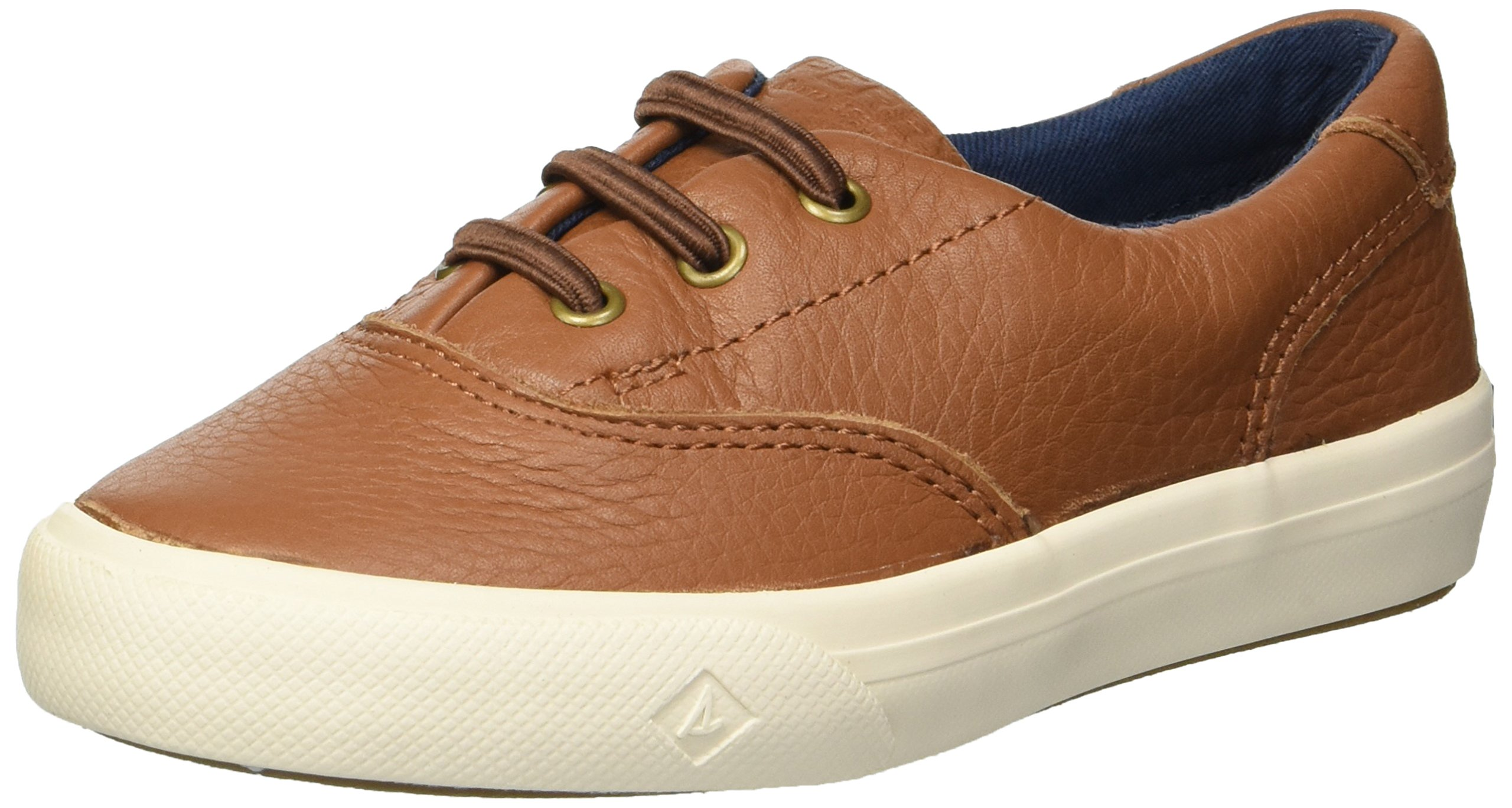 SPERRY Boys' Striper II Jr Leather Boat Shoe, tan, 10 Medium US Toddler by SPERRY
