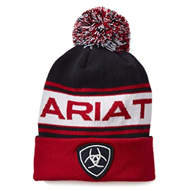 7239b7f5333 Ariat Team Beanie Womens Hat One Size Navy Red  Amazon.co.uk  Sports ...