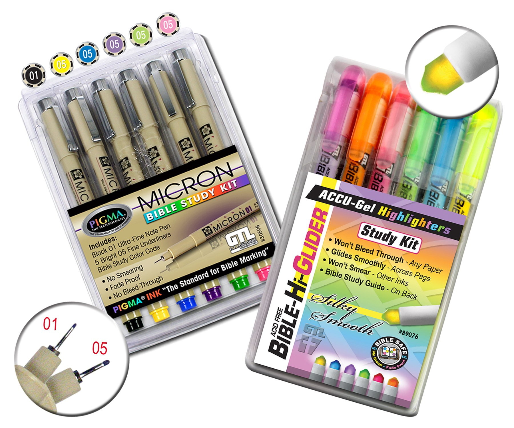 Accu-Gel Bible Highlighter Study Kit (Pack of 6) + Pigma Micron 01 Fine & 05 Medium Point Bible Study Kit (Set of 6) - The Deluxe Multi-Color Study Kit by G.T. Luscombe Company, Inc. (Image #8)