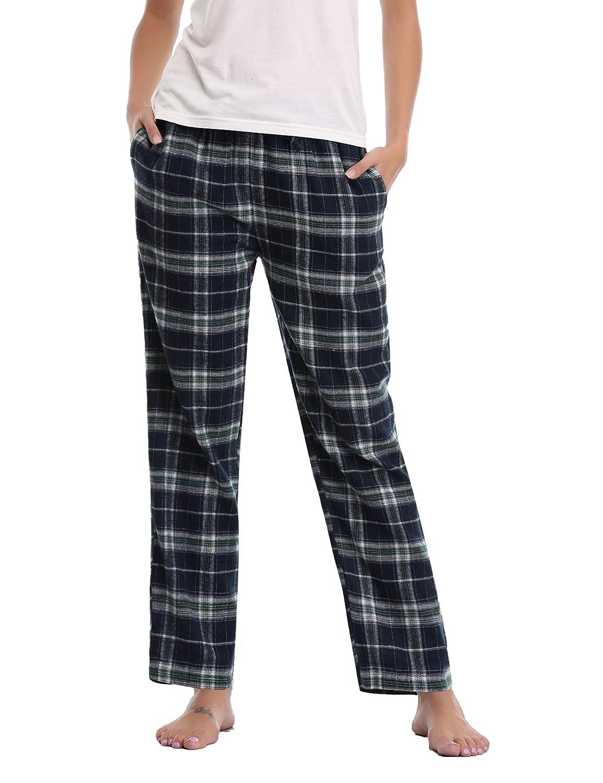 Aibrou Damen Baumwolle Karierte Schlafanzughose Pyjamahose Nachtwäsche AMB00051