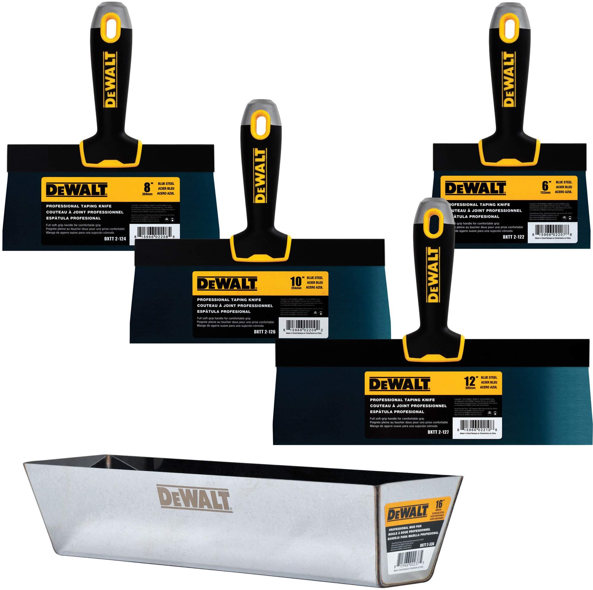 DEWALT Blue Steel Taping Knife & Mud Pan Set + FREE BONUS 6'' Soft Grip Putty Knife | 8/10/12-Inches | Soft Grip Handles | DXTT-3-163 by DEWALT
