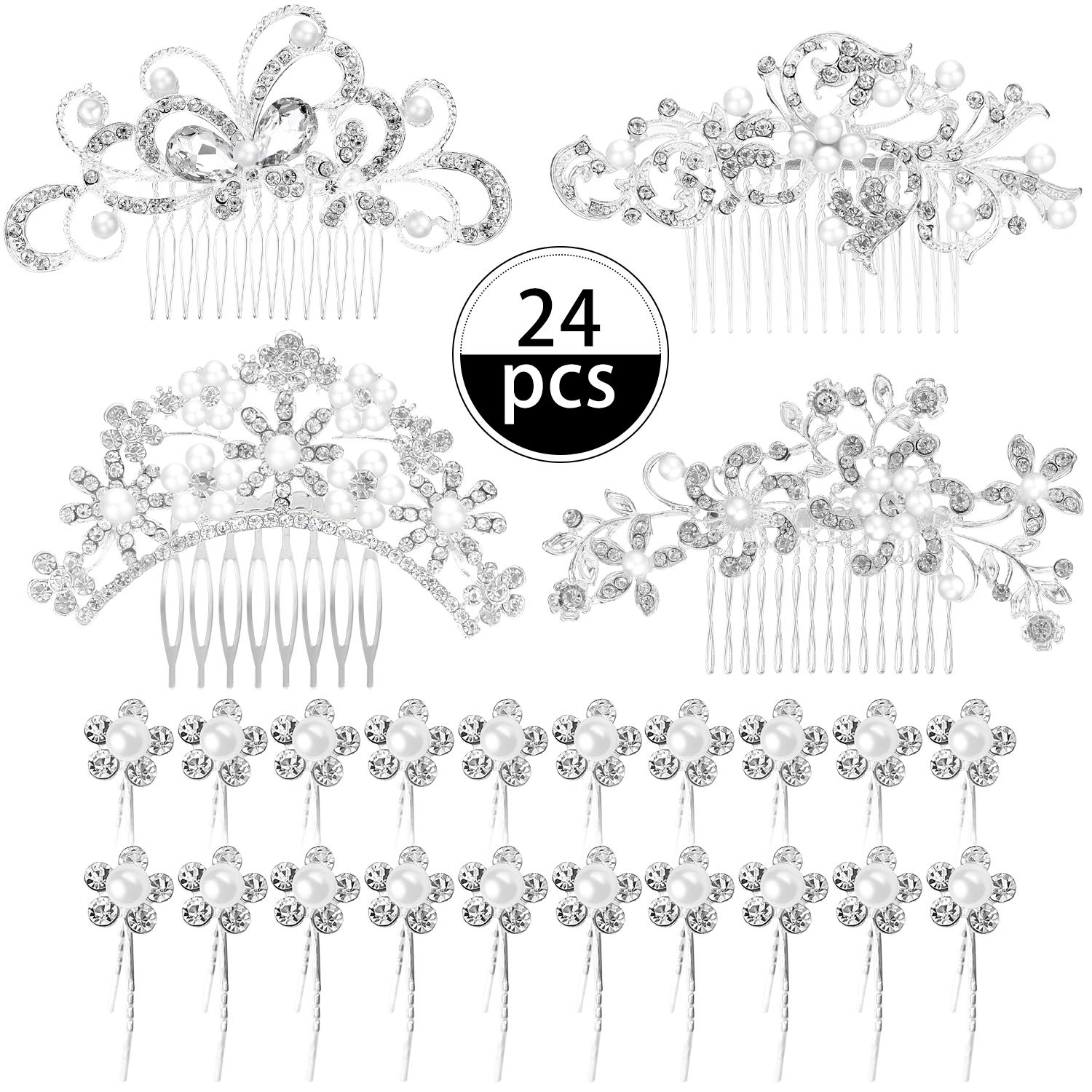 24 Pieces Wedding Bridal Hair Combs Crystal Pearl Rhinestone Hair Clips Side Hair Accessories Pearl Hair Pins for Brides and Bridesmaids (Pattern Set 1) by Boao