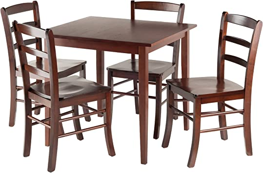 Amazon Com Winsome Groveland Square Dining Table 4 Chairs Antique Walnut Table Chair Sets