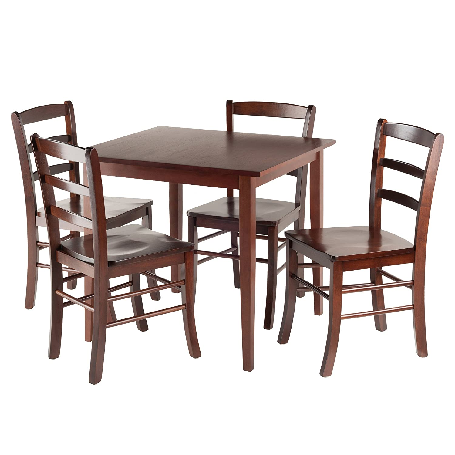 Winsome Groveland Square Dining Table, 4 Chairs, Antique Walnut