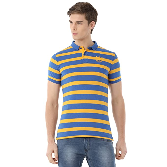 3f5750ba9 Classic Polo Striped Slim-fit T-Shirt for Men: Amazon.in: Clothing &  Accessories